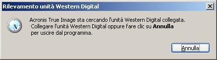 Acronis WD Edition schermata iniziale bloccata
