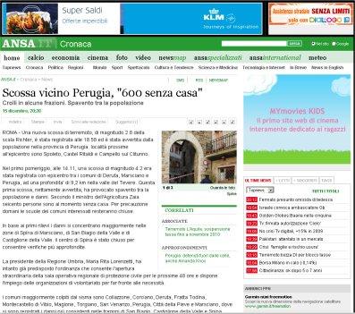 Notizia Ansa terremoto in Umbria con 600 persone senza casa