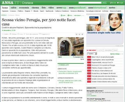 Notizia Ansa terremoto in Umbria con 500 persone a passare la notte fuori casa