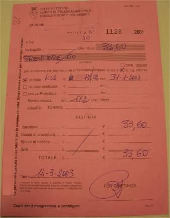 Ricevuta pagamento multa presso i vigili urbani