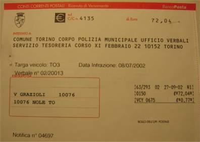 Multa: la ricevuta di pagamento divieto di sosta