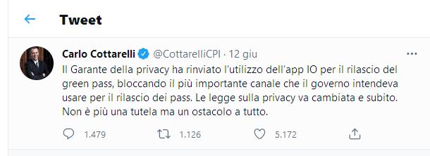 Tweet Cottarelli Privacy
