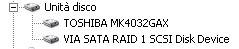 Le unità disco come rivelate dal Windows Xp